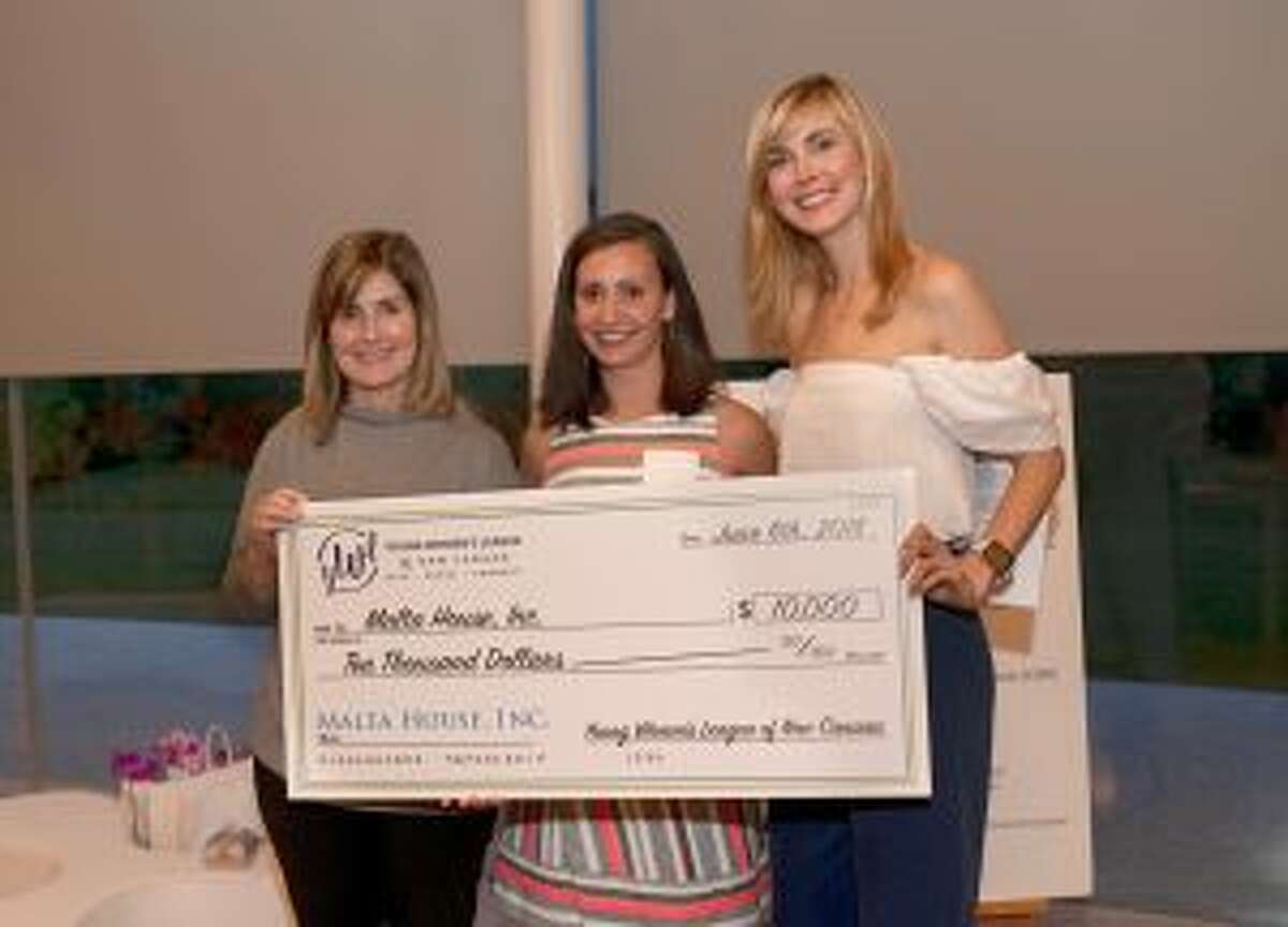 The Young Women's League of New Canaan recently gave $80K to charities. From left are Carey Dougherty, director of development and strategy, Malta House; Anna Diamantis, charity research chair, YWL; and Maia Sapanski, president, YWL. - Contributed photo.