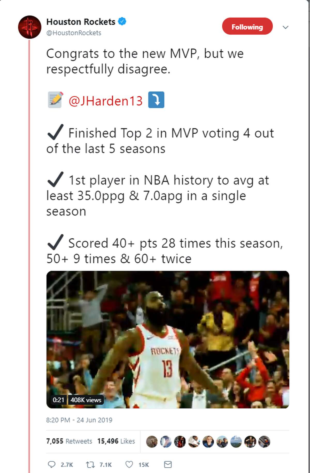 The Rockets official Twitter account posted a strong rebuttal to the BucksGiannis Antetokounmpo beating out James Harden for the NBA's Most Valuable player award.