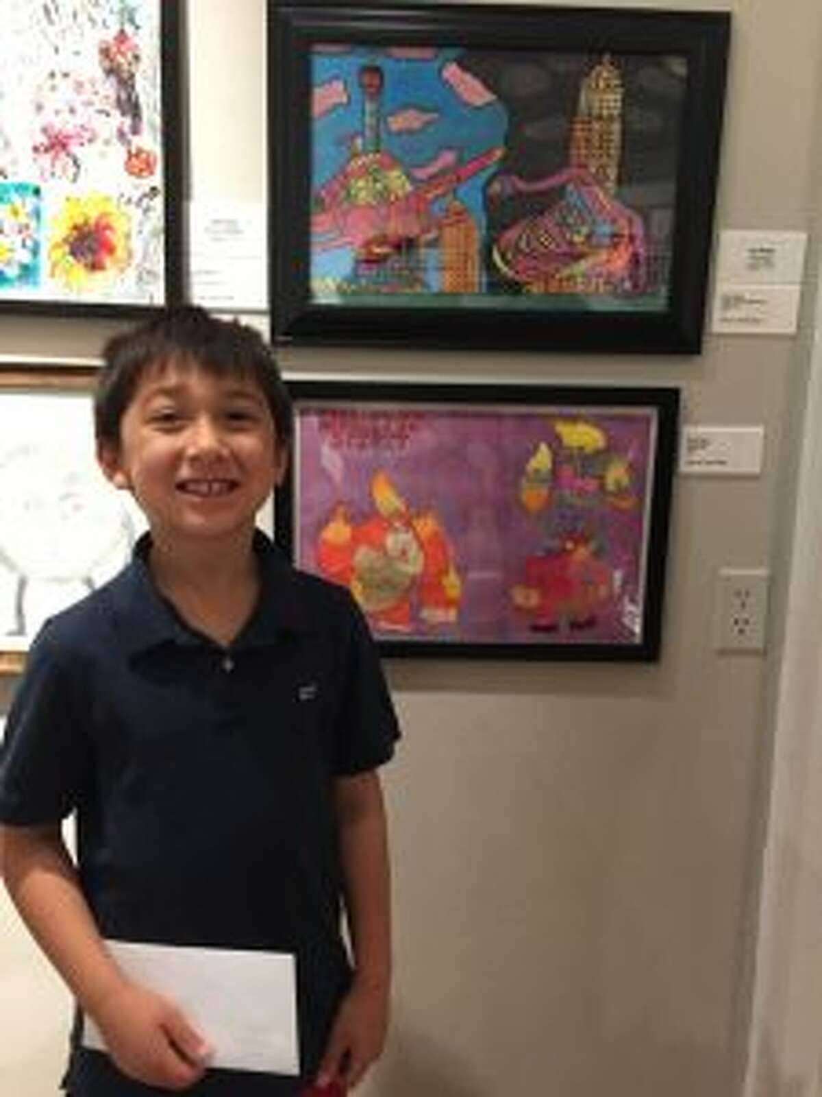 Bruce Elvin of New Canaan won 1st Prize in Painting in the Junior Category for Flying Cars with My Brother.