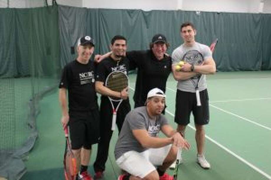 Tennis pros participate in an April 20 New Canaan Racquet Club Tennis Exhibition. — Contributed photo