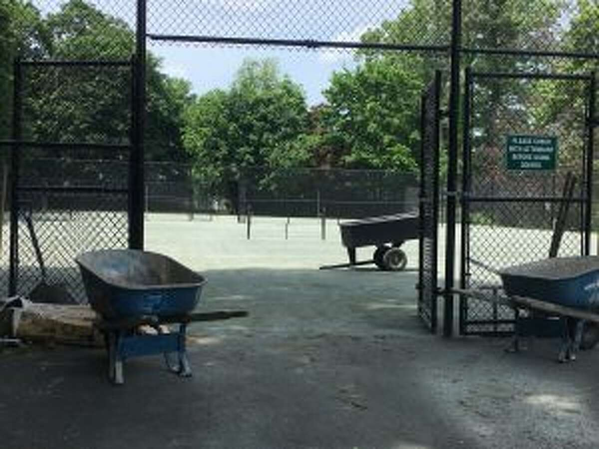 At 2 p.m. Friday, June 8, there was work equipment at the Mead courts but no workers. -