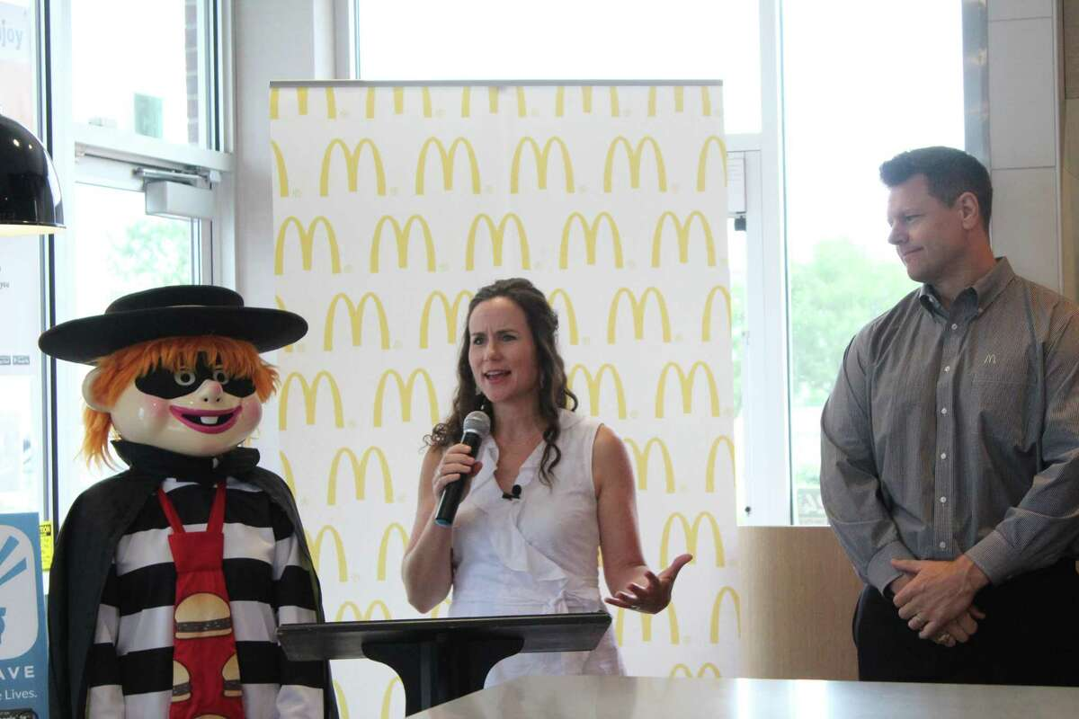 Marci Corry, CEO of Safe 2 Save, a safe driving app, speaks about the benefits of partnering with McDonald's, alongside McDonald's owner and operator Steve McKinney, on June 24.