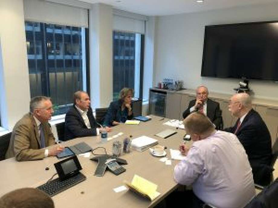 A former NYPD Commissioner, and safety experts recently reviewed security at the St. Luke's School in New Canaan. From left are Mark Davis, David Pakman, Julia Gabriele, Bill Bratton, Jerome Hauer, and Mike Kramer. — Contributed photo