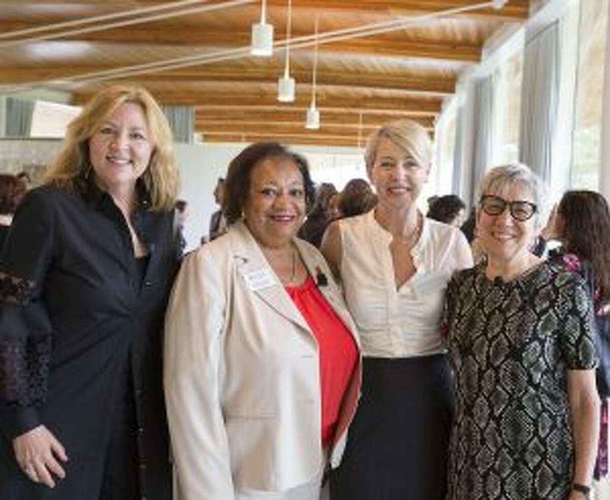 Advocacy Day at Grace Farms in New Canaan recently drew a great crowd of 130 nonprofit leaders. Sharon Prince, chair/president, Grace Farms Foundation; Juanita James, president/CEO, Fairfield County's Community Foundation; Lisa Lynne Kirkpatrick, community initiative director, Grace Farms Foundation, and featured keynote speaker Frances Kunreuther, co-director of the Building Movement Project at Fairfield County's Advocacy Day 2018 at Grace Farms. The seminar fostered cross-collaboration between public, private and nonprofit sectors. - Contributed photo