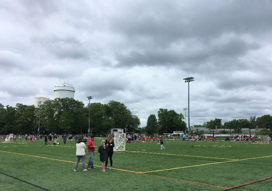 Looking southwest across the rebuilt Water Tower Field 1, with Lapham Community Center in background, during the Cochran Classic junior lacrosse tourney Sunday morning, June 3. — Greg Reilly photo