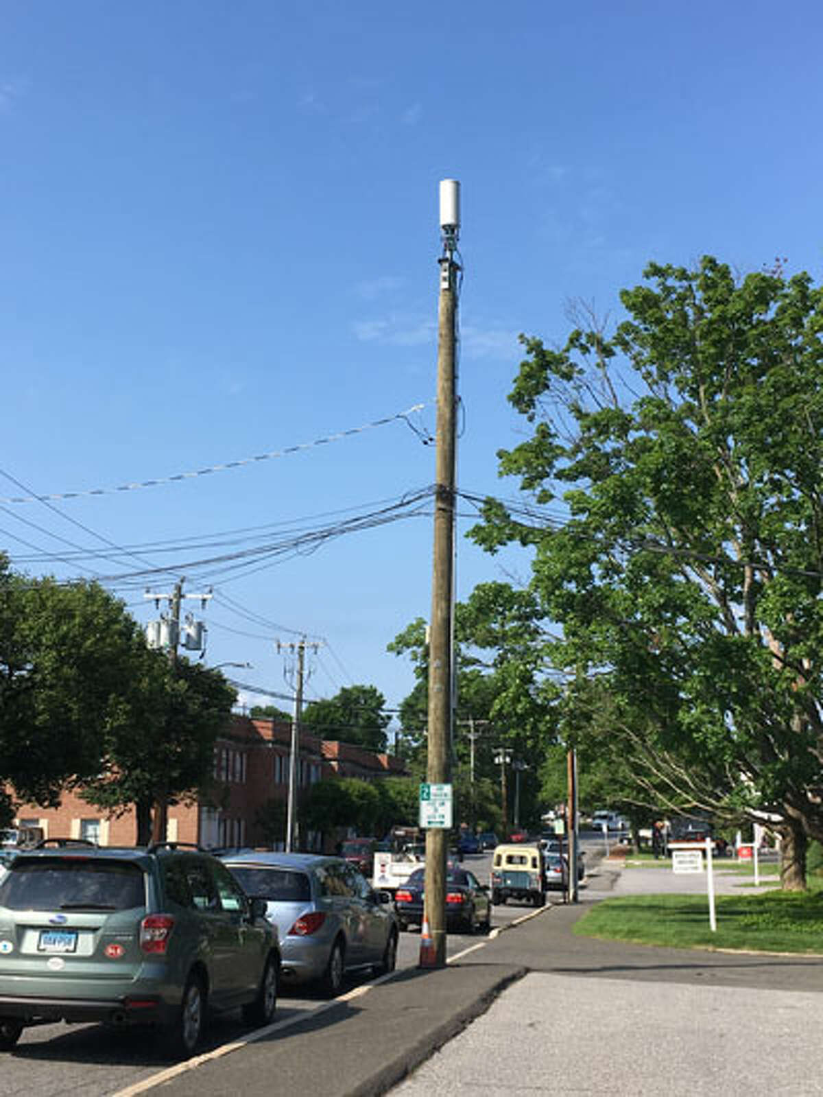 Small distributed antenna systems, like this one atop a utility pole on Pine Street near Tony's Deli, are #1 on P&Z's preference list. - Greg Reilly photo