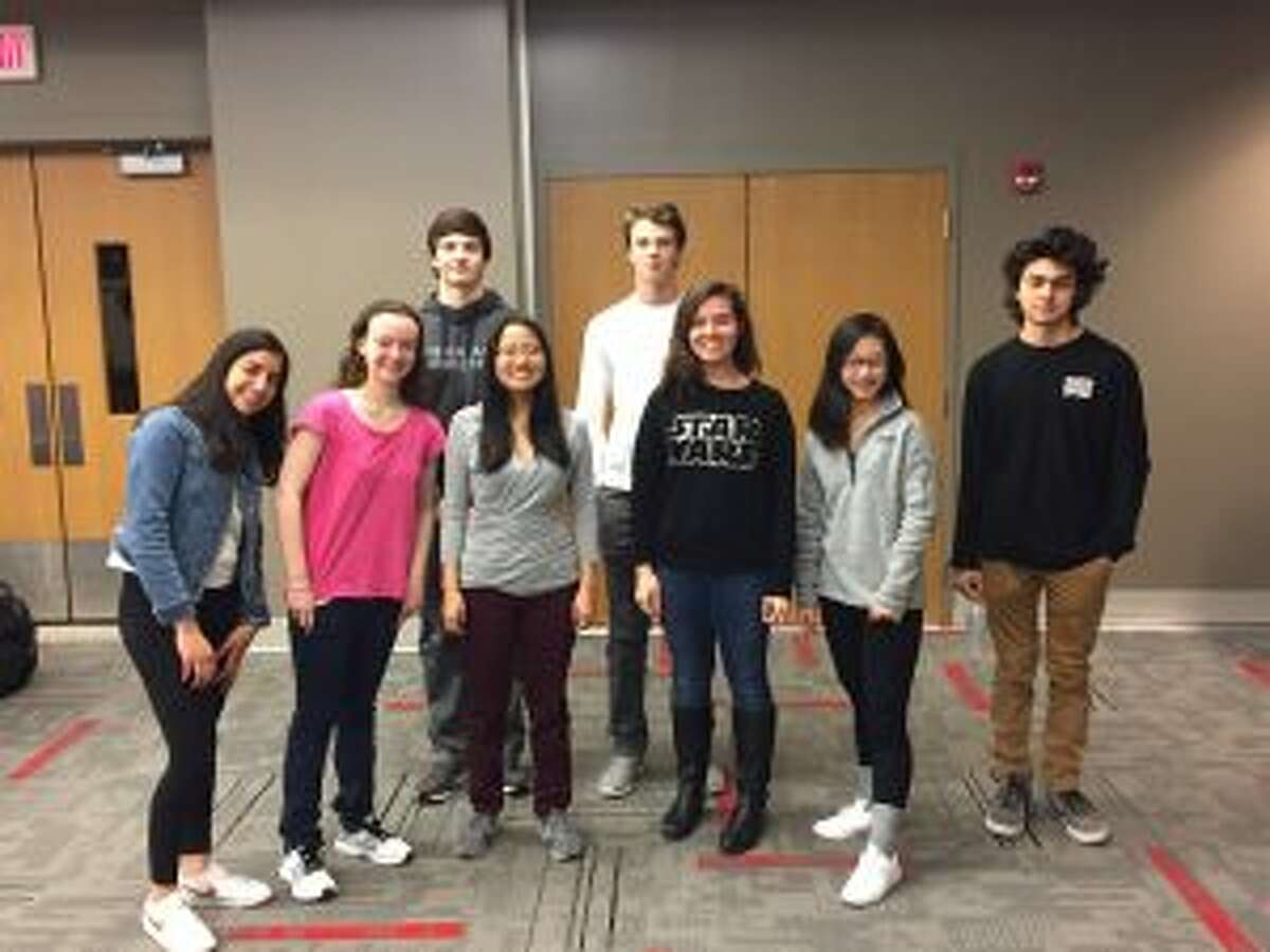 New Canaan High School's Junior Varsity team placed second in the state in TEAMS competition. The members of the JV team are, from left,Tara Chugh, Alexis Axon, Christopher Carratu, Elizabeth Dolan, Griffen Dayton, captain; Cella Kove, Vivian Ding, and Pablo Villa. - Contributed photo