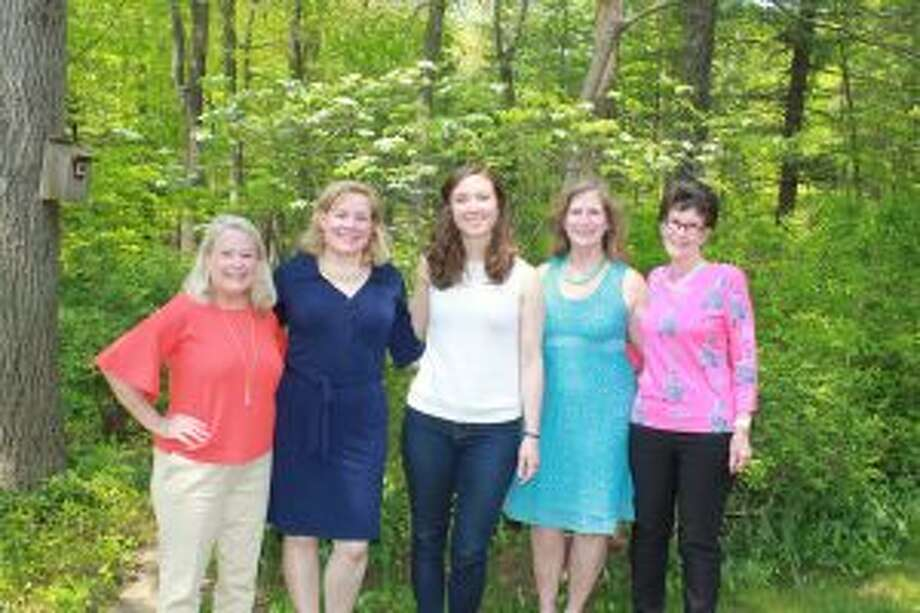 New Canaan: The PEO Scholar Award exemplifies leadership in community service. From left, Linda Ferguson, state chair for Scholar Awards; Carolyn Corcoran, president of Chapter N; Veronica Galvin; Jeanne Fredericks, Scholar Award chair for Chapter N; and Hope Hetherington, co-chair for Scholar Awards for Chapter N. — Contributed photo