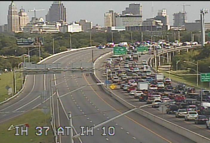 Traffic snarled on Interstate 37 South near Alamodome