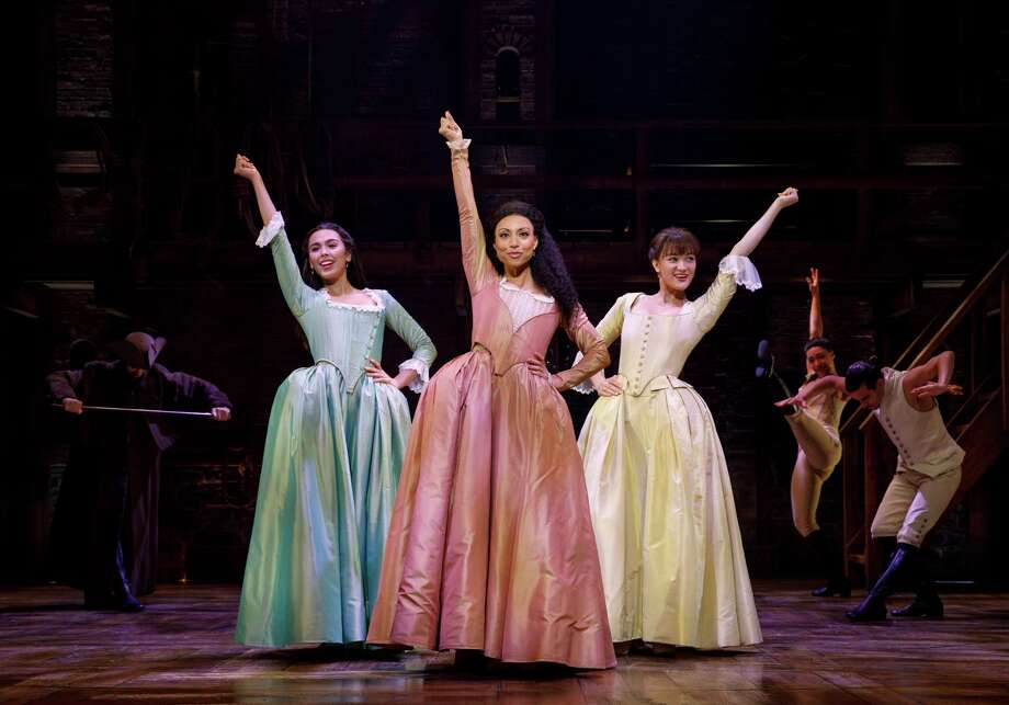 "From left, Julia K. Harriman, Sabrina Sloan and Isa Briones in ""Hamilton,"" as buoyant a box-office hit on the road as it has been on Broadway. Photo: Joan Marcus / ©2018 Joan Marcus"