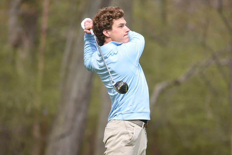 Gunnar Granito, shown playing against Darien on April 30 at Wee Burns CC, shot a 38 as the Rams topped Ridgefield Monday at the Country Club of New Canaan. — Dave Stewart photo