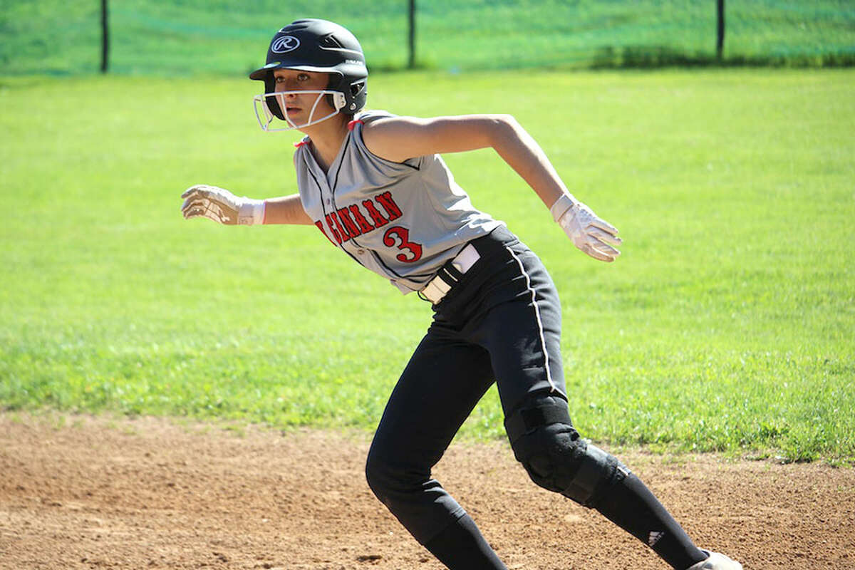 New Canaan's Lizzie Kuchinski on the basepaths during Thursday's softball game at Westhill. - Terry Dinan photo