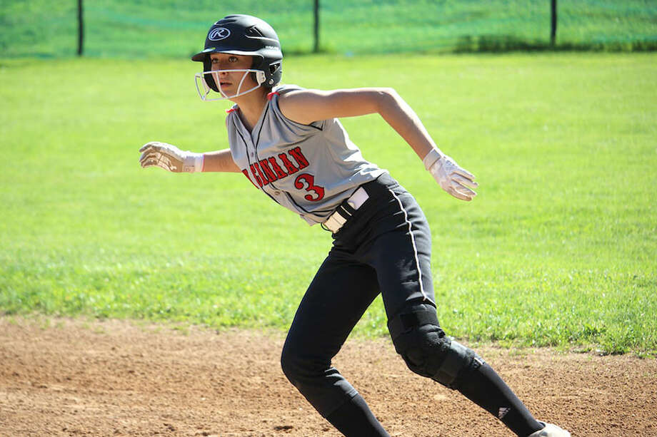 New Canaan's Lizzie Kuchinski on the basepaths during Thursday's softball game at Westhill. — Terry Dinan photo