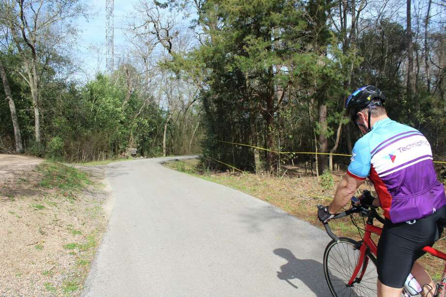 A bicyclist takes off down the Spring Creek Greenway trail at Dennis Johnston Park in Spring. This is just one way to enjoy nature in Montgomery County. Photo: Melanie Feuk