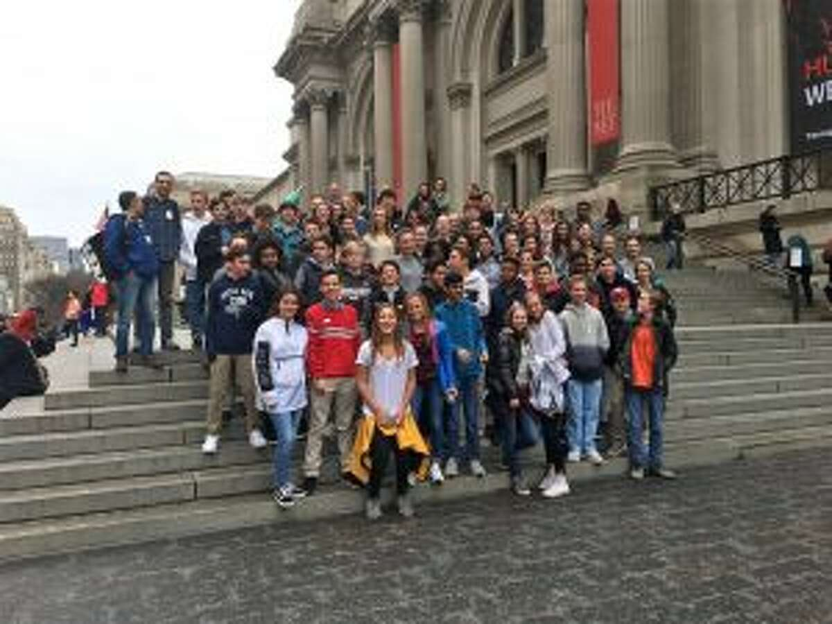 Eighth graders from New Canaan Country School recently visited a mosque and museum on a trip to New York City. New Canaan Country School 8th graders visited the Metropolitan Museum of Art and the Islamic Cultural Center of New York in Manhattan on April 19. - Contributed photo