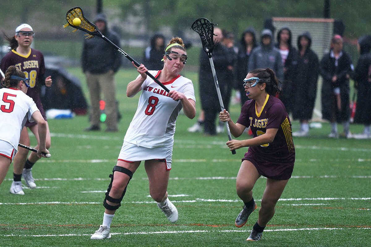 New Canaan senior Gianna Bruno takes a shot during the Rams' 19-4 win over St. Joseph on Wednesday, May 16. - Dave Stewart photo