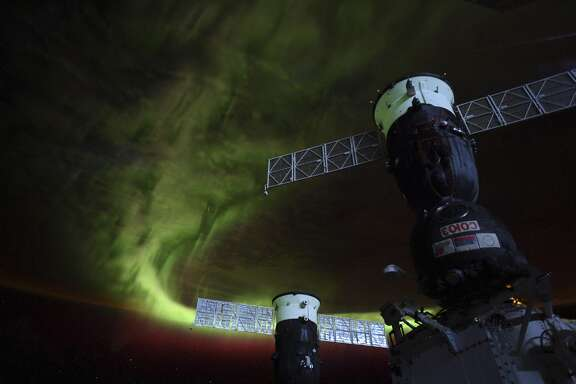 "This NASA photo obtained June 16, 2019 shows an image of an aurora taken on June 13, 2019 aboard the International Space Station, by NASA astronaut Christina Koch, saying: ""Years ago at the South Pole, I looked up to the aurora for inspiration through the 6-month winter night, now I know they're just as awe inspiring from above."