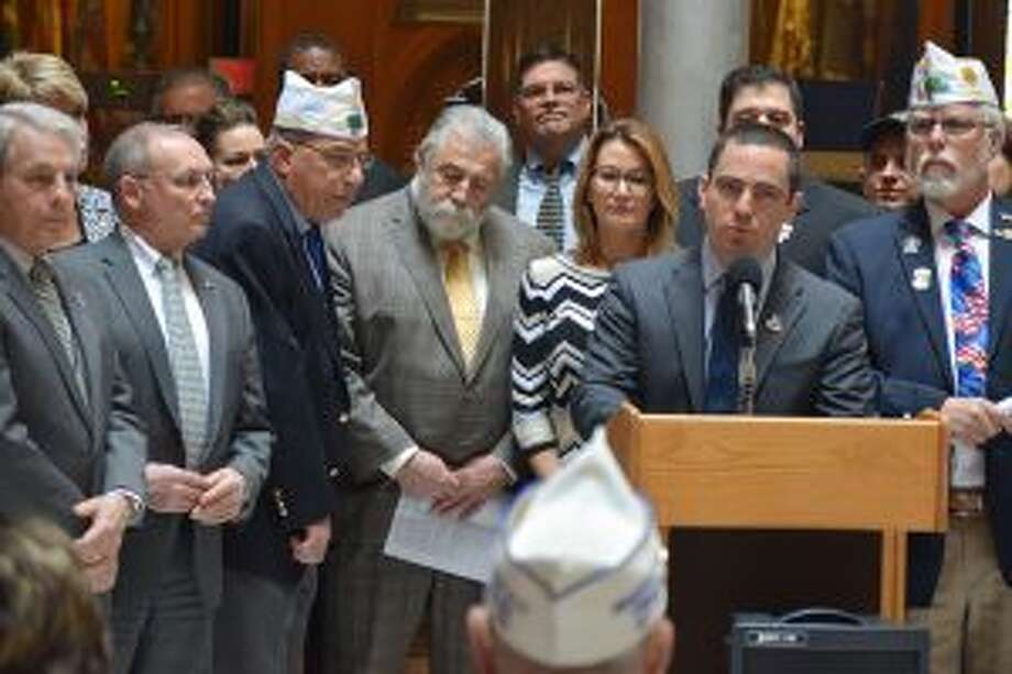 New Canaan: Rep. Tom O'Dea supports restored funding for veterans. Rep. Tom O'Dea at a press conference on April 24 at the Capitol joined by veterans and fellow legislators. — Contributed photo