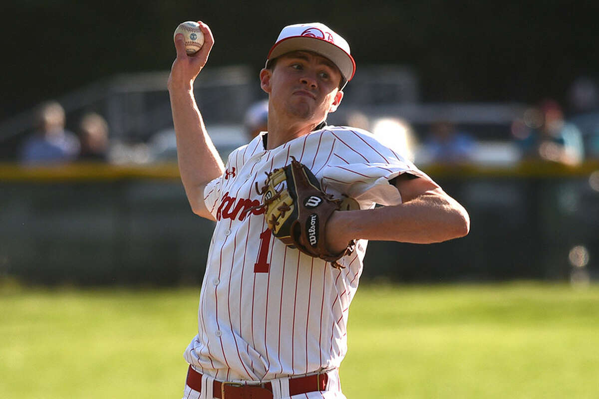 New Canaan's Andrew Jordan pitched 5.1 innings of scoreless relief on Wednesday, but the Rams fell to visiting Ridgefield 4-2 in Mead Park. - Dave Stewart photo