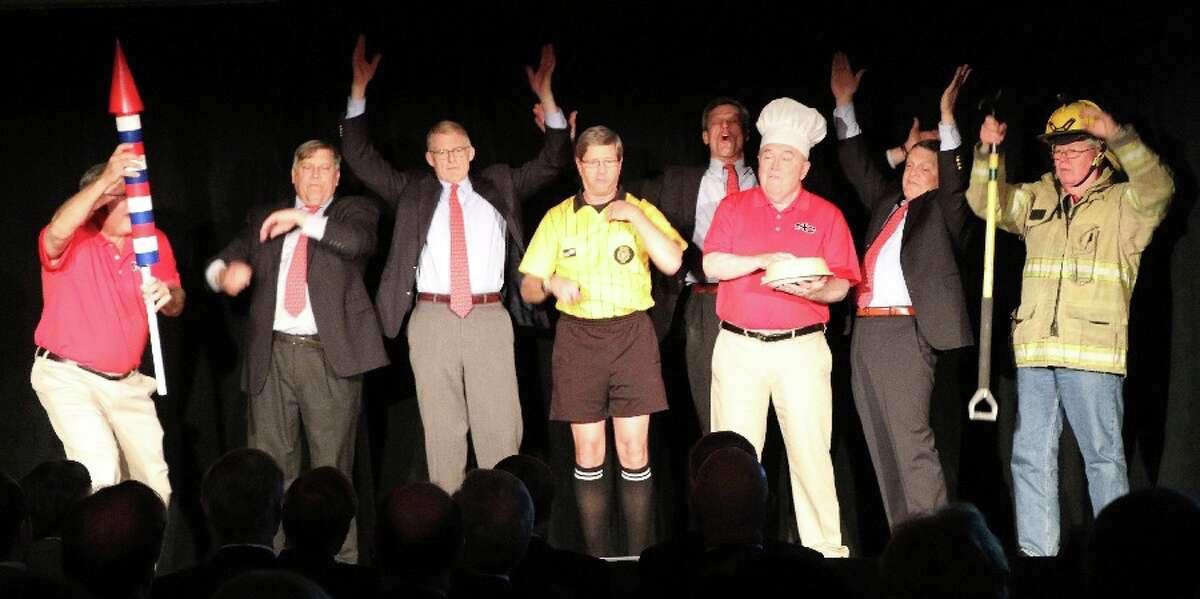 Full Cast Opening: From left, Bill Walbert, Rob Avery, Eric Thunem, Bruce Wilkinson, Steve Pond, George Baker, Tom Butterworth, and Robert Curry.