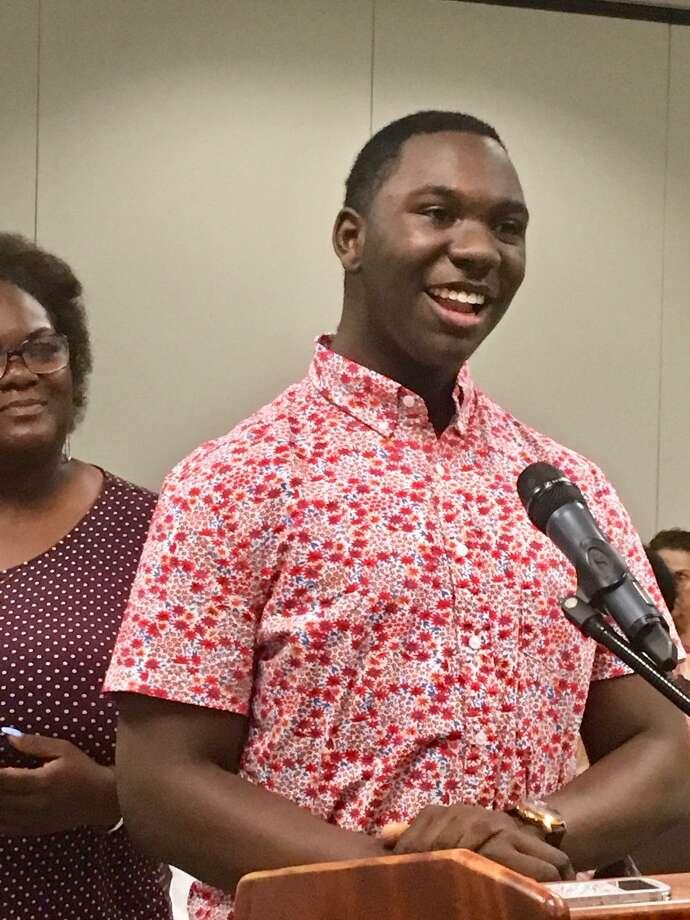 Anthony Miller, recipient of Bridgeport Superintendent Students Scholarship. June 24, 2019 Photo: Linda Conner Lambeck