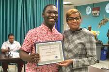 Anthony Miller and Bridgeport Schools Superintendent Aresta Johnson