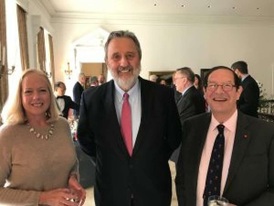 Center is Ambassador Henne Schuwer of the Netherlands with Diane & Peter Nemiroff of New Canaan at the reception in honor of the Saint Nicholas Society of New York City at the Ambassador's Kalorama residence in DC. — Contributed photo