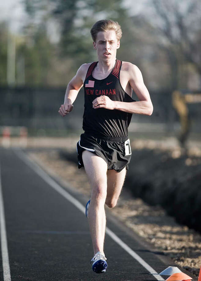 Max Koschnitzke in action for the New Canaan boys track and field team during a meet on Tuesday, May 1. — Scott Mullin photo / Scott Mullin ownership