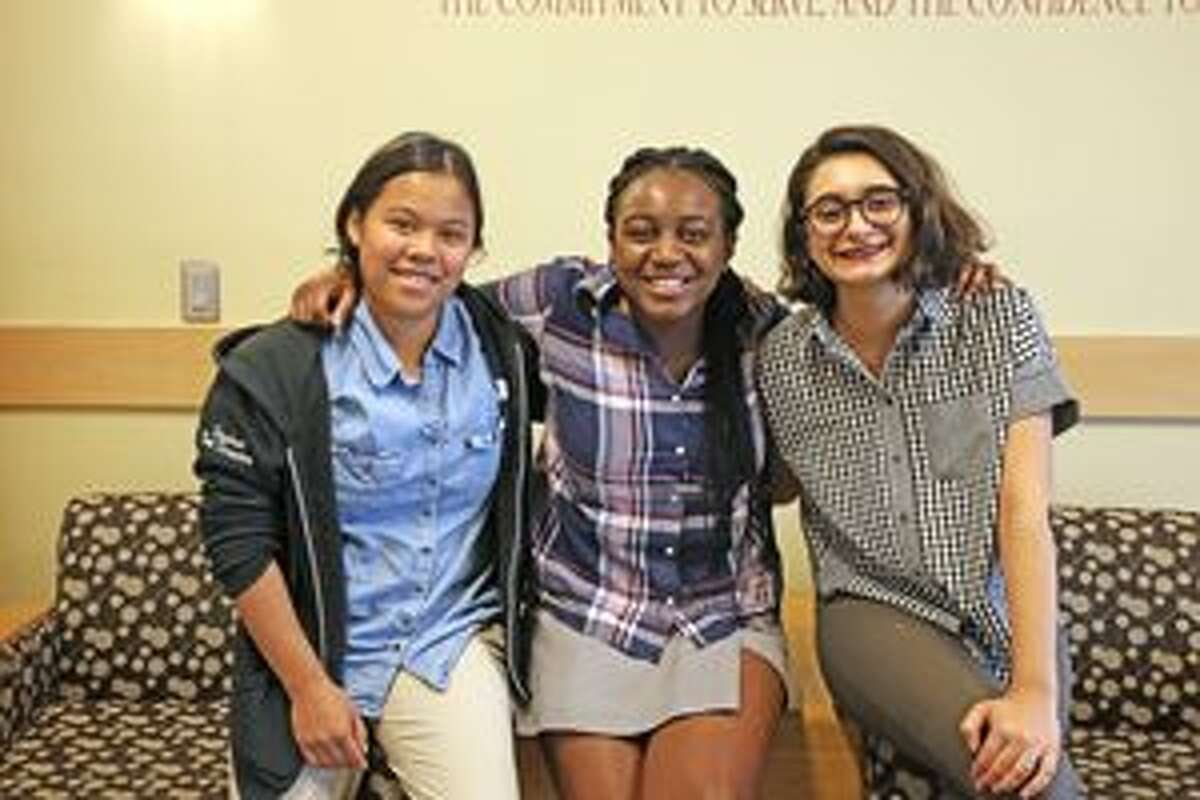 Seniors at St. Luke's School in New Canaan are going to spend the summer with professional theater. From left, Jacqui Holzberger of New Canaan, Gabby Mitchell of Norwalk, and Chloe Kekedjian of New Canaan. - Contributed photo by Valerie Parker