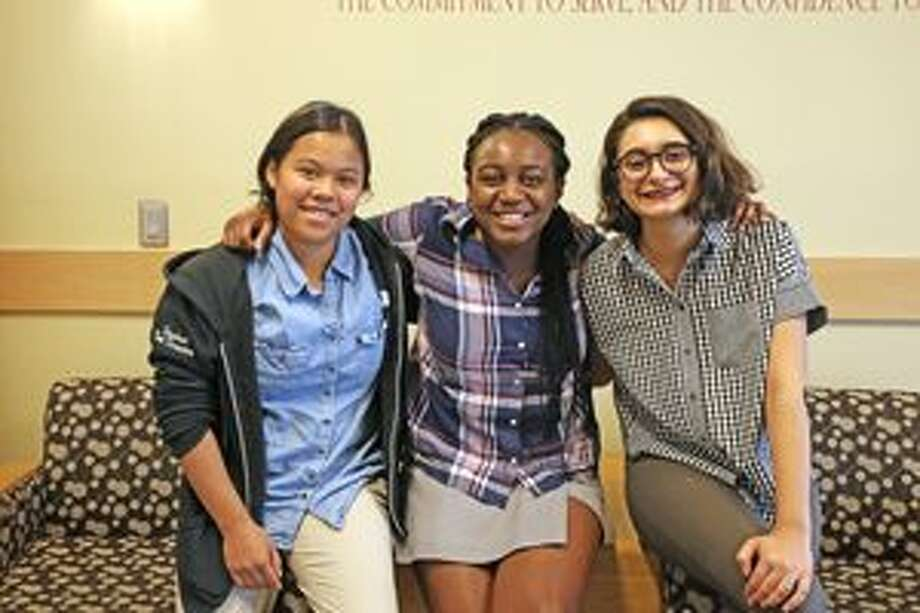 Seniors at St. Luke's School in New Canaan are going to spend the summer with professional theater. From left, Jacqui Holzberger of New Canaan, Gabby Mitchell of Norwalk, and Chloe Kekedjian of New Canaan. — Contributed photo by Valerie Parker