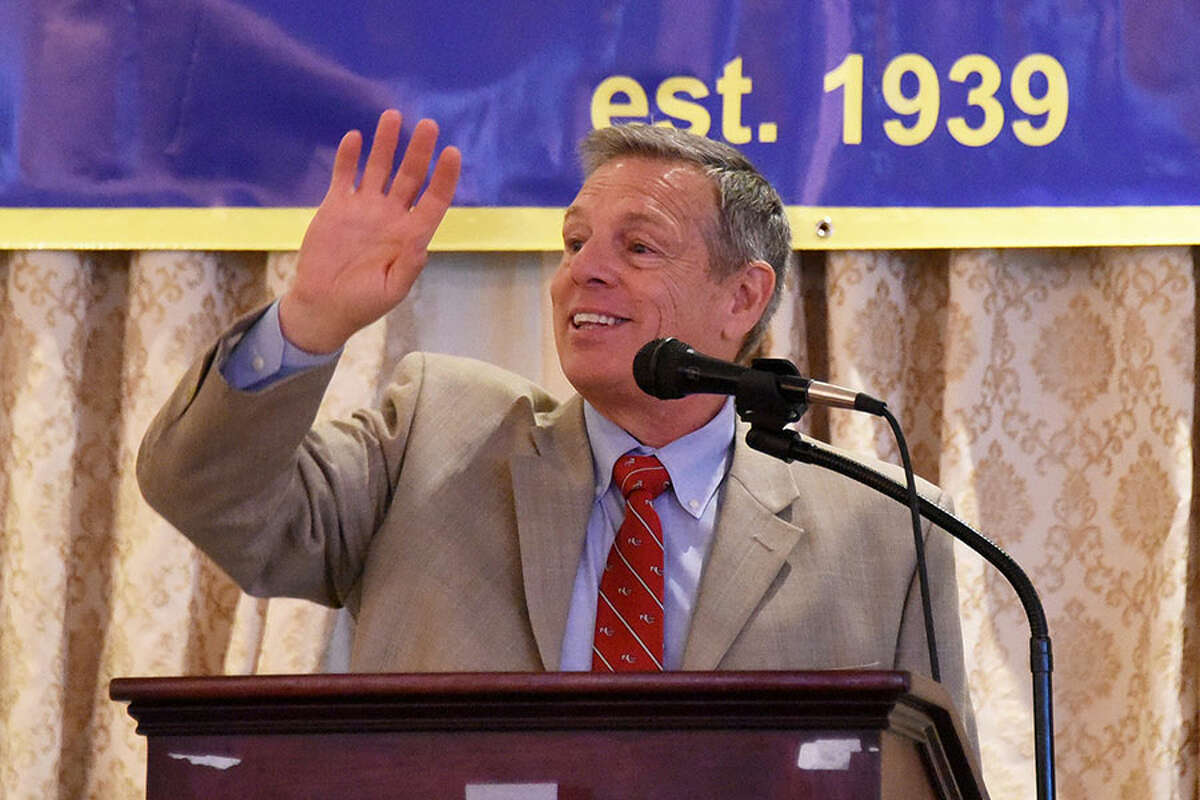Lou Marinelli, the New Canaan Rams' head football coach for 37 years, at the podium during the 77th Gold Key Dinner at the Aqua Turf Club in Southington on Sunday, April 29.