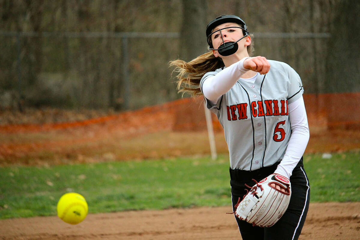 Rams' pitcher Gillian Kane fires in a pitch during a victory over Bridgeport Central on Tuesday. - Terry Dinan photo