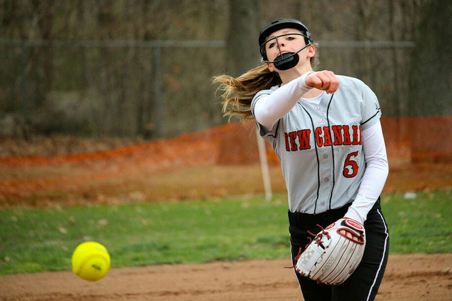 Rams' pitcher Gillian Kane fires in a pitch during a victory over Bridgeport Central on Tuesday. — Terry Dinan photo
