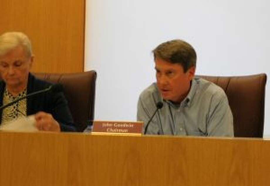 New Canaan: A zoning change is aimed to assist retailers in the village. P&Z Chairman John Goodwin speaks on a matter at the April 24 meeting, with Vice Chairman Jean Grzelecki at left. — Brad Durrell photo