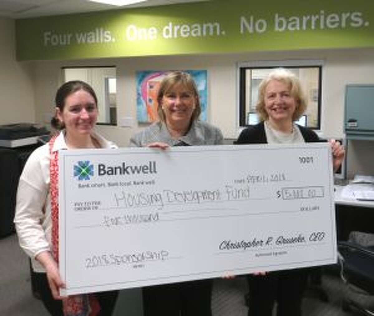 Bankwell, which has two locations in New Canaan recently gave to the Housing Development Fund.