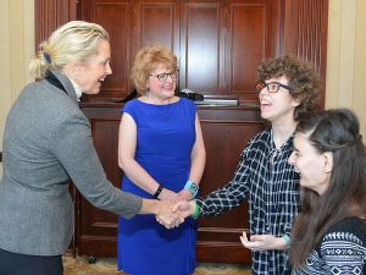 STAR's Sixth Annual Speakers Luncheon featuring, Ali Wentworth, recently drew a sellout crowd of over 350 people to the Woodway Country Club in Darien. From left, Ali Wentworth, Katie Banzhaf STAR executive director, STAR clients Ariel Levy and Stacey Banzhaf. - Contributed photo