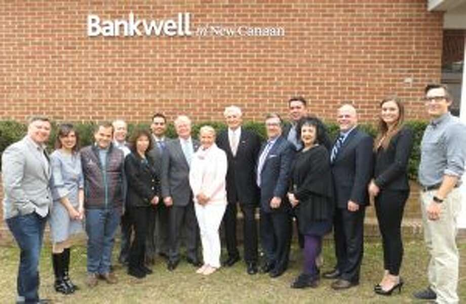 The New Canaan Rams Council will celebrate teens' substance-free living April 28, 2018. Sponsors of the Ram Council Foundation's upcoming Gala gather to support substance-free living among New Canaan youth. Joyce and Dan Sixsmith of the Ram Council are pictured with representatives from Bankwell, Newport Academy, Aware Recovery, Silver Hill Hospital, Lighthouse, Karl Chevrolet, Walter Stewarts Market, Law Offices of Mark Sherman, and Caron Treatment. — Contributed photo by Bankwell