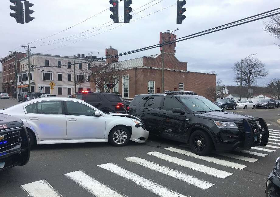 The accident scene Tuesday late afternoon at the intersection of Main and Cherry streets. — Greg Reilly photo
