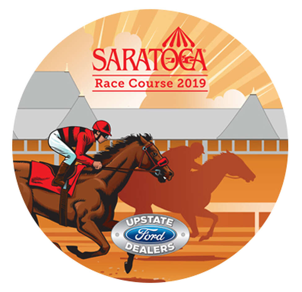 The New York Racing Association will give away a circular beach towel showing a thoroughbred and jockey with the grandstand in the background on Wednesday, Aug. 7, 2019.