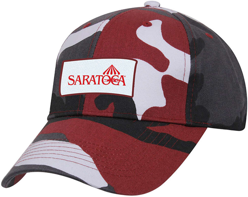 The New York Racing Association will give away a Saratoga baseball cap with a red, black and gray camouflage print on Wednesday, Aug. 7, 2019, at Saratoga Race Course.