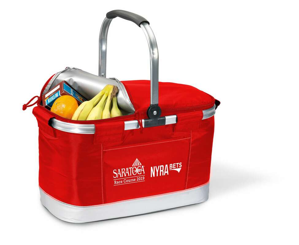 The New York Racing Association will give away a red picnic cooler on Sunday, July 14, 2019, at Saratoga Race Course.