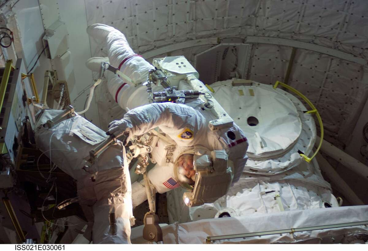 Mike Foreman in action during a space walk.