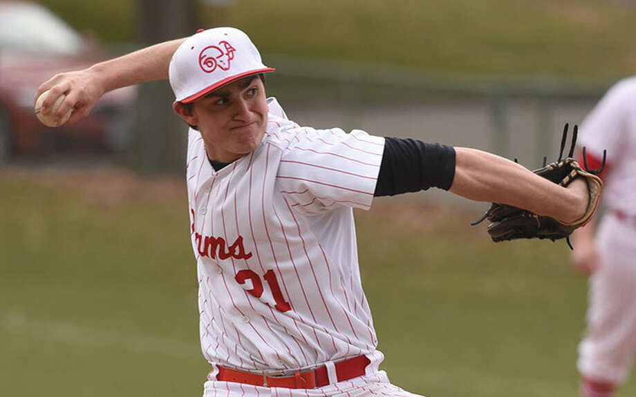 Jack DeFrancesco pitched six innings to help the Rams defeat Greenwich, 2-1, in the second game of a doubleheader last spring. — Dave Stewart photo