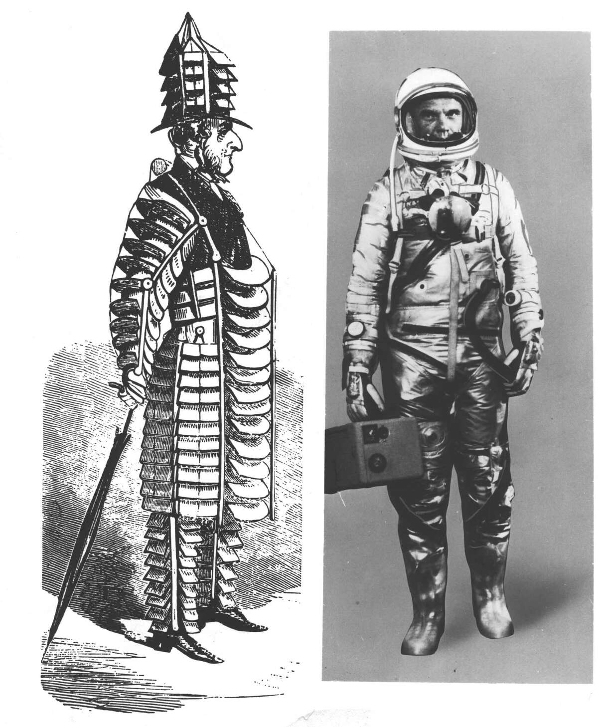 (05/29/1964): The idea of air-conditioned clothing long intrigued man, with results like the far-fetched application at the left. It wasn't until the arrival of the space age that the idea finally became a reality. Col. John Glenn models a space suit air-conditioned by the electric unit in his right hand.