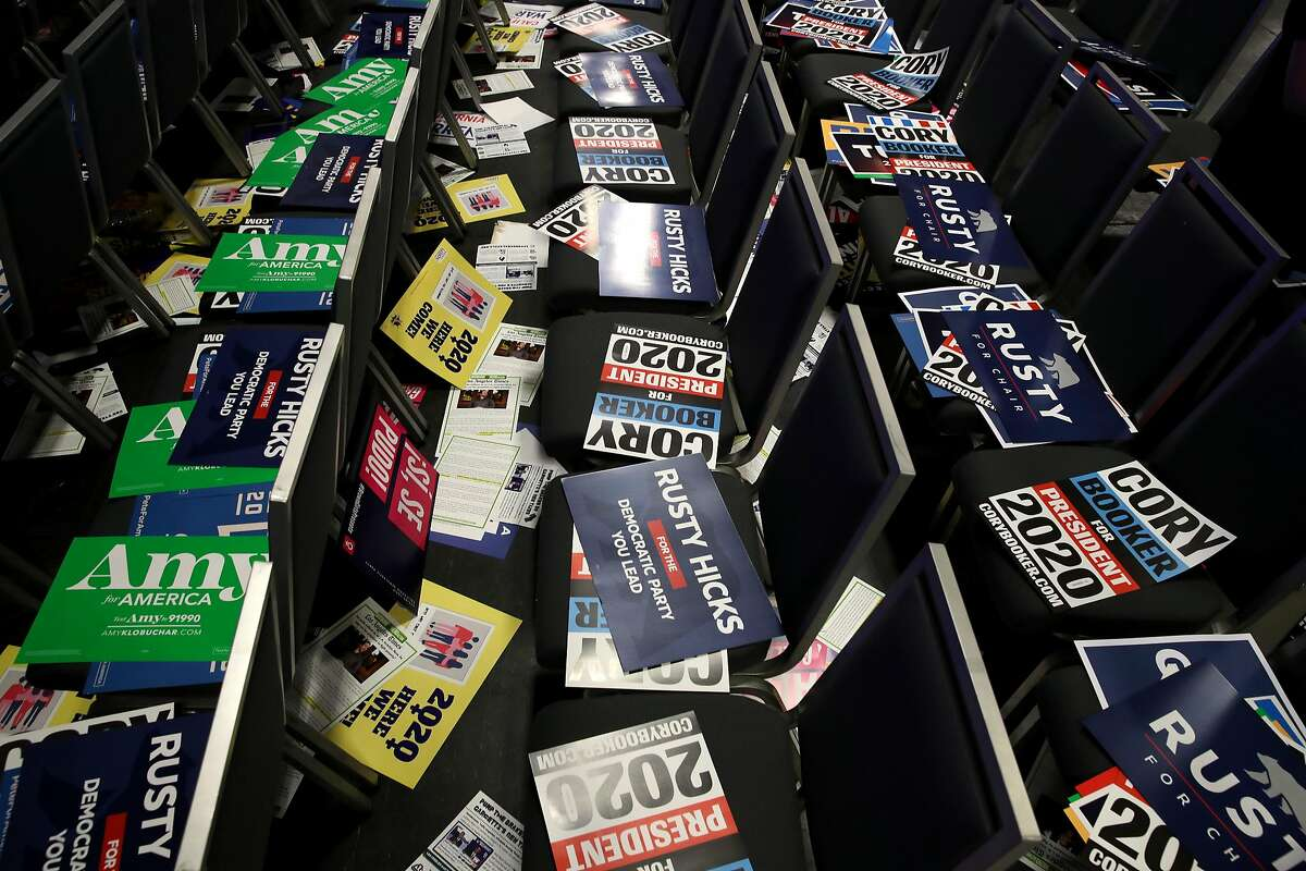 SAN FRANCISCO, CALIFORNIA - JUNE 01: Campaign signs sit on chairs during the California Democrats 2019 State Convention at the Moscone Center on June 01, 2019 in San Francisco, California. Several Democratic presidential cadidates are speaking at the California Democratic Convention that runs through Sunday. (Photo by Justin Sullivan/Getty Images)