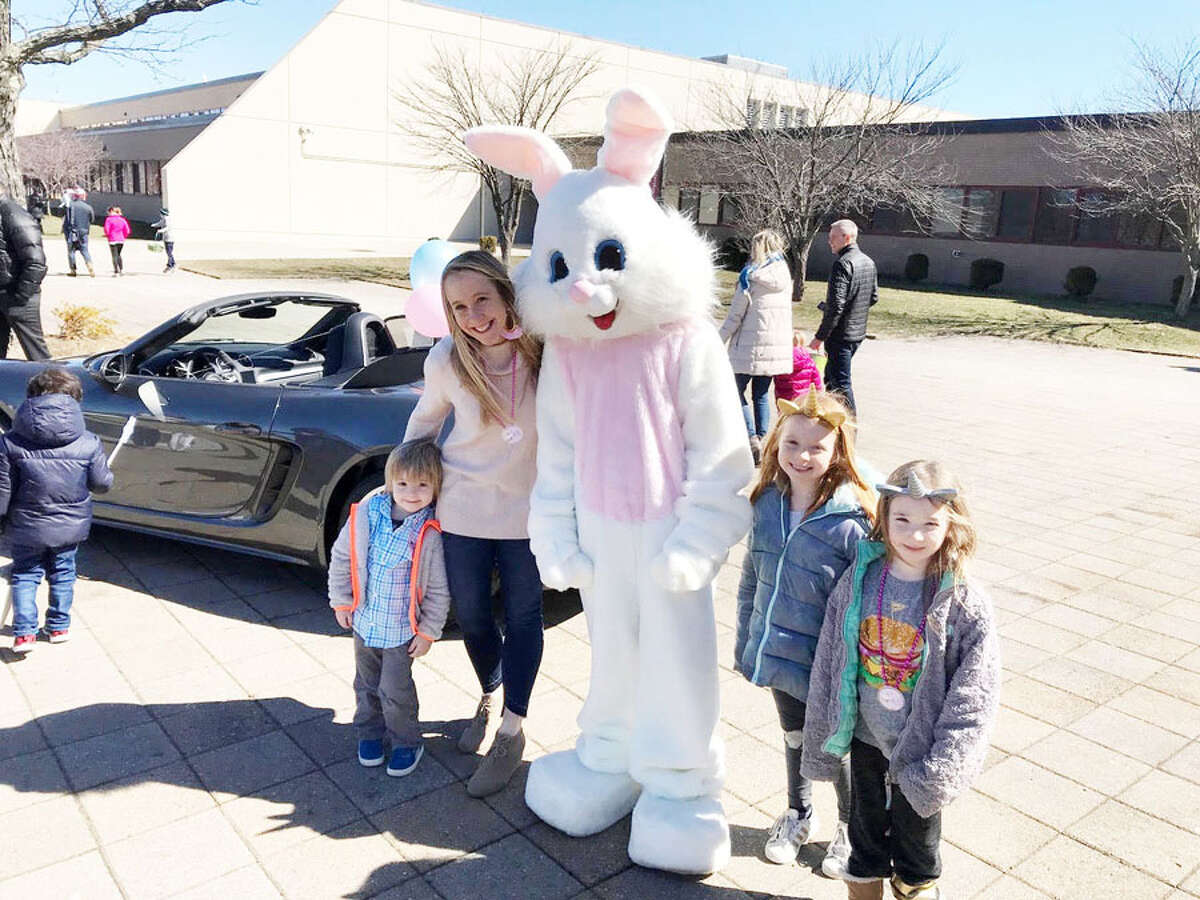 An egg hunt, a bunny and crafts are on at Waveny Park Saturday, April 6, 2019, with a raindate of Sunday, April 7, 2019. Pictured is a photo from last year's event.- Contributed photo