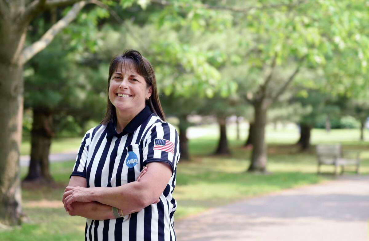 Traveling referee Mara Wager smiles for a portrait on Friday, May 31, 2019 at The Crossings in Colonie, NY. (Phoebe Sheehan/Times Union)