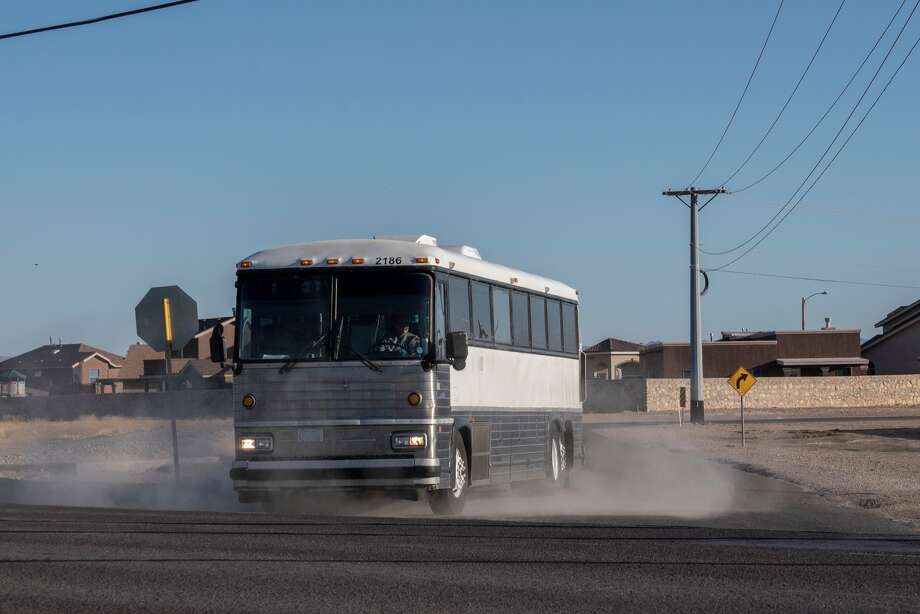 A bus transporting migrants is pictured in this file photo. Photo: PAUL RATJE/AFP/Getty Images