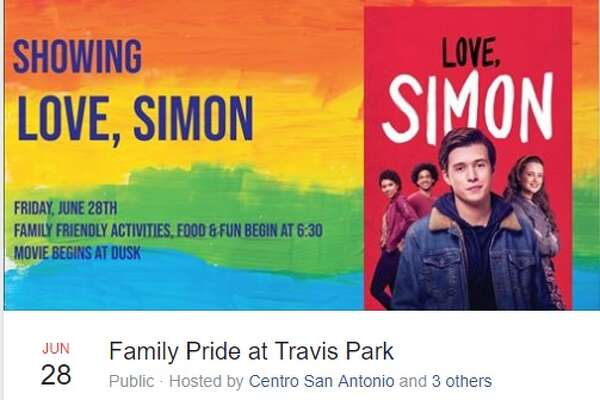 """Family Pride at Travis Park is from 6:30 p.m. to 10 p.m. Friday, June 28 at Travis Park. Lawn games, screening of """"Love, Simon"""" and LGBTQ+ owned food vendors. Movie beings at 8:30 p.m."""