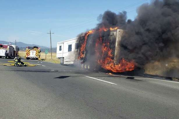 All lanes of Highway 37 in Sonoma County were closed in both directions Tuesday morning after a travel trailer caught fire, authorities said.